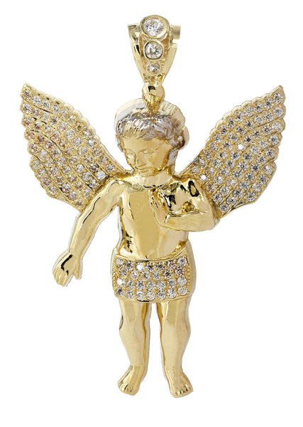 Big Angel & Cz 10K Yellow Gold Pendant.  |  14.3 Grams