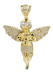 Big Angel & Cz 10K Yellow Gold Pendant. | 13.4 Grams MEN'S PENDANTS FROST NYC
