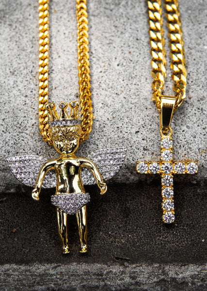 Gold Plated Iced Out Angel & Cross With Cuban Link & Franco Chain