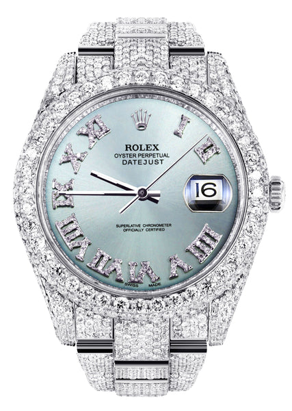Diamond Iced Out Rolex Datejust 41 | 25 Carats Of Diamonds | Custom Teal Roman Diamond Dial | Two Row | Oyster Band