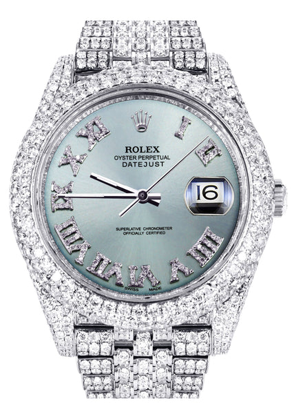 Diamond Iced Out Rolex Datejust 41 | 25 Carats Of Diamonds | Custom Teal Roman Diamond Dial | Two Row | Jubilee Band