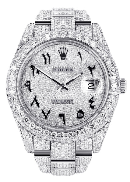 Diamond Iced Out Rolex Datejust 41 | 25 Carats Of Diamonds | Custom Arabic Diamond Dial | Two Row | Oyster Band