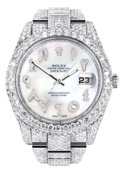 Diamond Iced Out Rolex Datejust 41 | 25 Carats Of Diamonds | Custom Mother of Pearl Arabic Numeral Diamond Dial | Two Row | Oyster Band