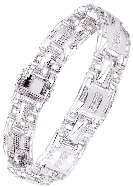 Mens Diamond Bracelet White Gold| 1.85 Carats| 25.78 Grams