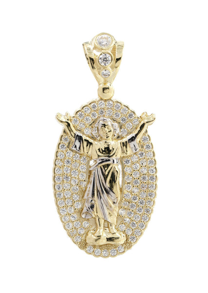 Big Baby Jesus & Cz 10K Yellow Gold Pendant. | 9.5 Grams