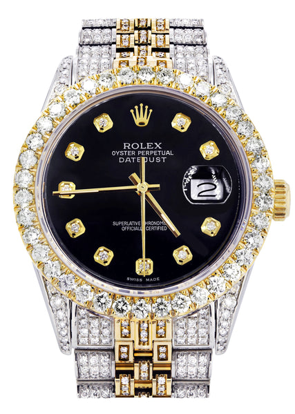Iced Out Rolex Datejust 36 MM | Two Tone | 10 Carats of Diamonds | Black Diamond Dial