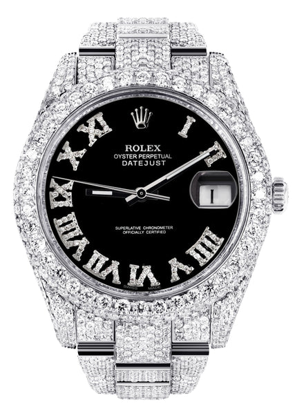 Diamond Iced Out Rolex Datejust 41 | 25 Carats Of Diamonds | Custom Black Roman Numeral Diamond Dial | Two Row | Oyster Band