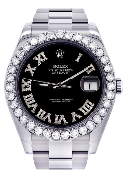 Rolex Datejust II Watch | 41 MM | Custom Black Roman Dial | Oyster Band