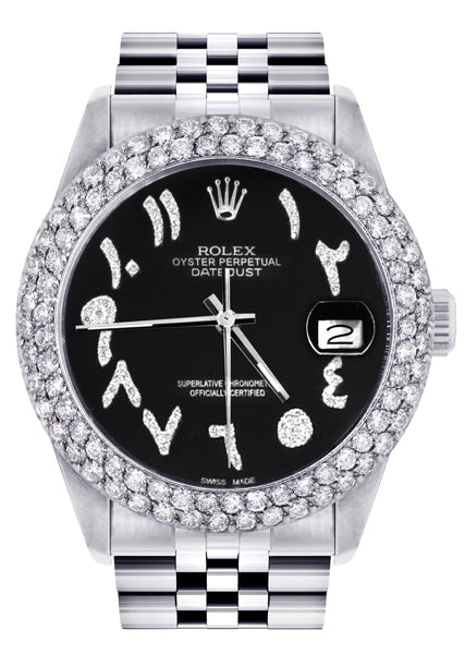 Mens Rolex Datejust Watch 16200 | 36Mm | Black Arabic Diamond Dial | Two Row 4.25 Carat Bezel | Jubilee Band