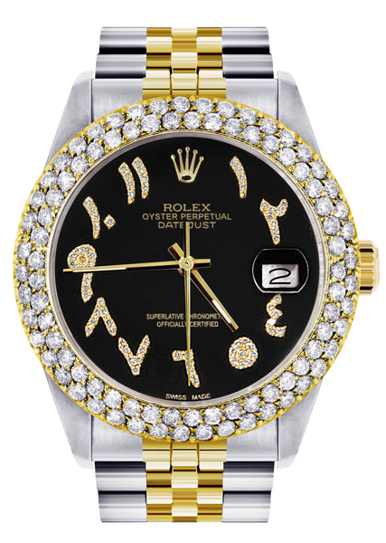 Diamond Gold Rolex Watch For Men 16233 | 36Mm | Black Arabic Diamond Dial | Two Row 4.25 Carat Bezel | Jubilee Band
