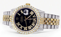 Iced Out Rolex Datejust 36 MM | Two Tone | 10 Carats of Diamonds | Black Roman Diamond Dial CUSTOM ROLEX FrostNYC