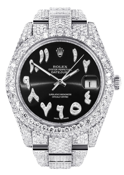 Diamond Iced Out Rolex Datejust 41 | 25 Carats Of Diamonds | Custom Black Arabic Numeral Diamond Dial | Two Row | Oyster Band