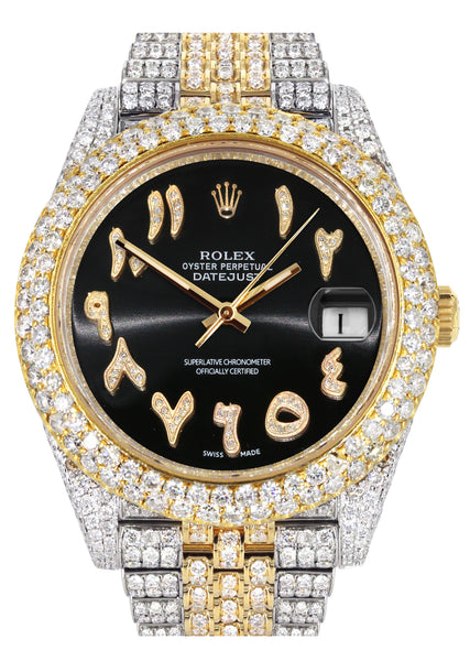 Diamond Iced Out Rolex Datejust 41 | 25 Carats Of Diamonds | Custom Black Arabic Numeral Diamond Dial | Two Tone | Two Row | Jubilee Band