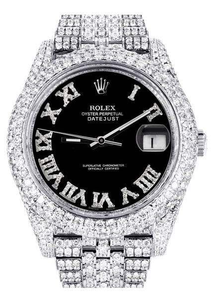 Diamond Iced Out Rolex Datejust 41 | 25 Carats Of Diamonds | Custom Black Roman Numeral Diamond Dial | Two Row | Jubilee Band