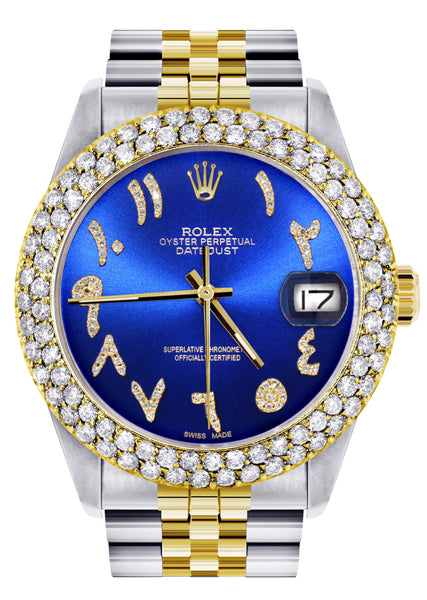 Diamond Gold Rolex Watch For Men 16233 | 36Mm | Blue Arabic Diamond Dial | Two Row 4.25 Carat Bezel | Jubilee Band