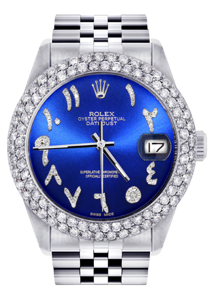 Mens Rolex Datejust Watch 16200 | 36Mm | Royal Blue Arabic Diamond Dial | Two Row 4.25 Carat Bezel | Jubilee Band