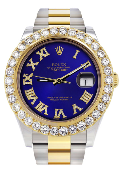 Rolex Datejust II Watch | 41 MM | 18K Yellow Gold & Stainless Steel | Custom Blue Roman Dial | Oyster Band