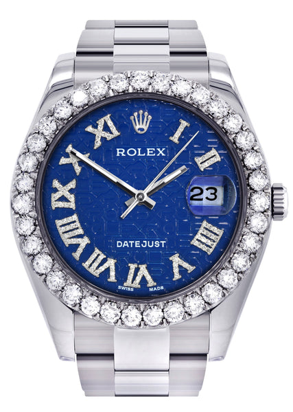 Rolex Datejust II Watch | 41 MM | Custom Blue Pattern Roman Dial | Oyster Band
