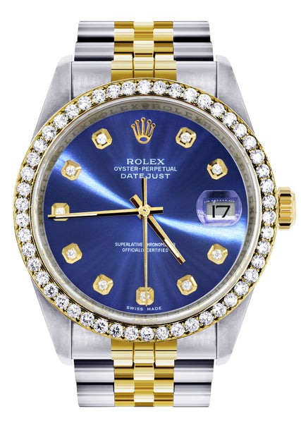 Gold Rolex Datejust Watch 16233 Two Tone for Men | 36Mm | Blue Dial | Jubilee Band