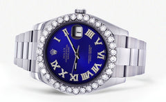 Rolex Datejust II Watch | 41 MM | Custom Blue Roman Dial | Oyster Band CUSTOM ROLEX FrostNYC