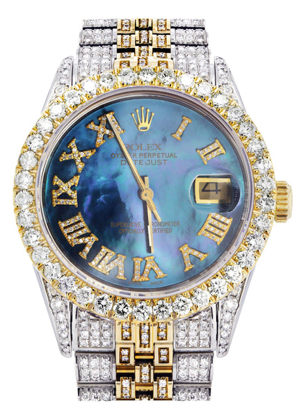 Iced Out Rolex Datejust 36 MM | Two Tone | 10 Carats of Diamonds | Blue Mother of Pearl Roman Diamond Dial