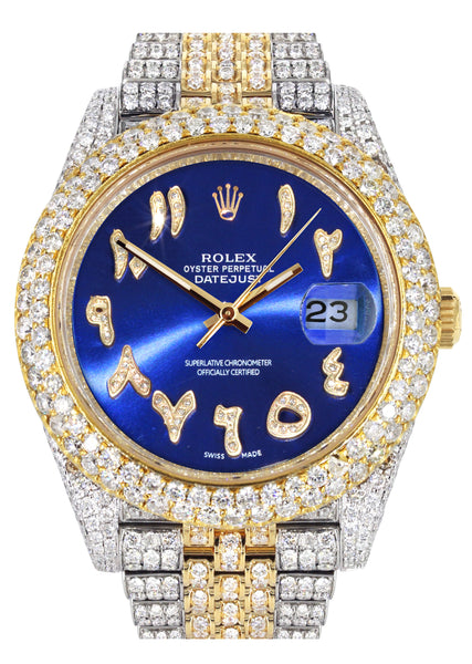 Diamond Iced Out Rolex Datejust 41 | 25 Carats Of Diamonds | Custom Blue Arabic Numeral Diamond Dial | Two Tone | Two Row | Jubilee Band
