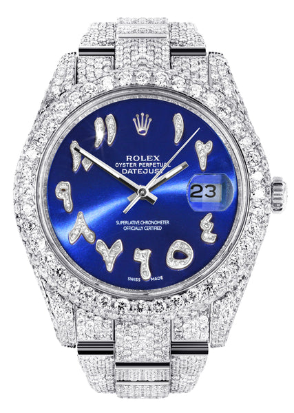 Diamond Iced Out Rolex Datejust 41 | 25 Carats Of Diamonds | Custom Blue Arabic Numeral Diamond Dial | Two Row | Oyster Band