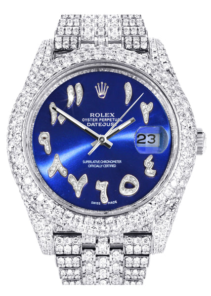 Diamond Iced Out Rolex Datejust 41 | 25 Carats Of Diamonds | Custom Blue Arabic Numeral Diamond Dial | Two Row | Jubilee Band
