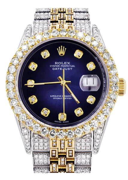Iced Out Rolex Datejust 36 MM | Two Tone | 10 Carats of Diamonds | Blue Black Diamond Dial