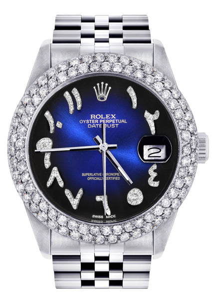 Mens Rolex Datejust Watch 16200 | 36Mm | Blue Black Arabic Diamond Dial | Two Row 4.25 Carat Bezel | Jubilee Band
