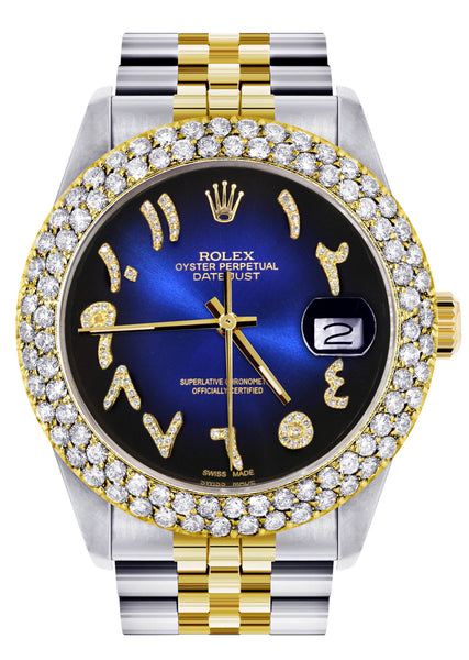 Diamond Gold Rolex Watch For Men 16233 | 36Mm | Blue Black Arabic Diamond Dial | Two Row 4.25 Carat Bezel | Jubilee Band