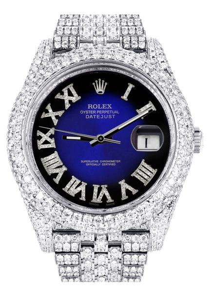 Diamond Iced Out Rolex Datejust 41 | 25 Carats Of Diamonds | Custom Blue Black Roman Numeral Diamond Dial | Two Row | Jubilee Band