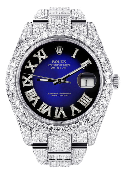 Diamond Iced Out Rolex Datejust 41 | 25 Carats Of Diamonds | Custom Blue Black Roman Numeral Diamond Dial | Two Row | Oyster Band