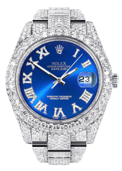 Diamond Iced Out Rolex Datejust 41 | 25 Carats Of Diamonds | Custom Blue Roman Numeral Diamond Dial | Two Row | Oyster Band