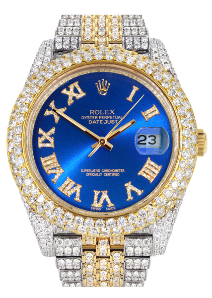 Diamond Iced Out Rolex Datejust 41 | 25 Carats Of Diamonds | Custom Blue Roman Numeral Diamond Dial | Two Tone | Two Row | Jubilee Band