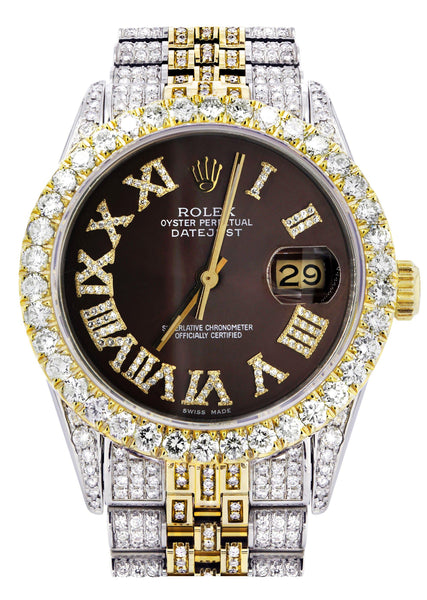 Iced Out Rolex Datejust 36 MM | Two Tone | 10 Carats of Diamonds | Chocolate Roman Diamond Dial