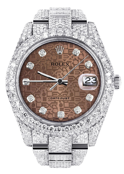 Diamond Iced Out Rolex Datejust 41 | 25 Carats Of Diamonds | Custom Chocolate Jubilee Diamond Dial | Two Row | Oyster Band