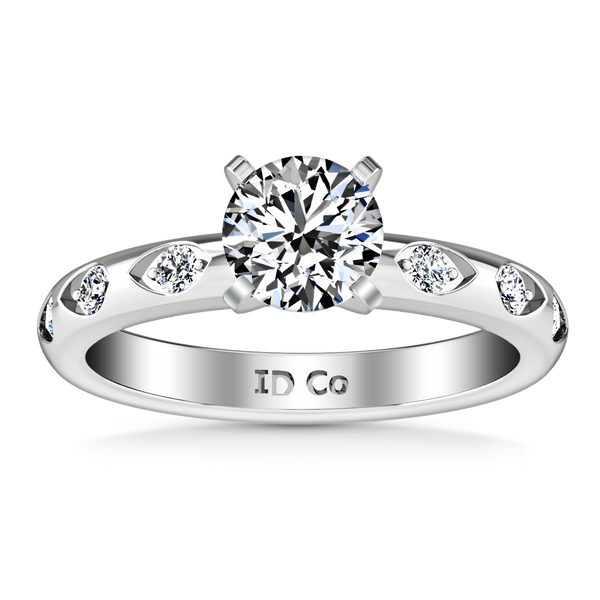 Round Diamond Pave Engagement Ring Jazz 14K White Gold
