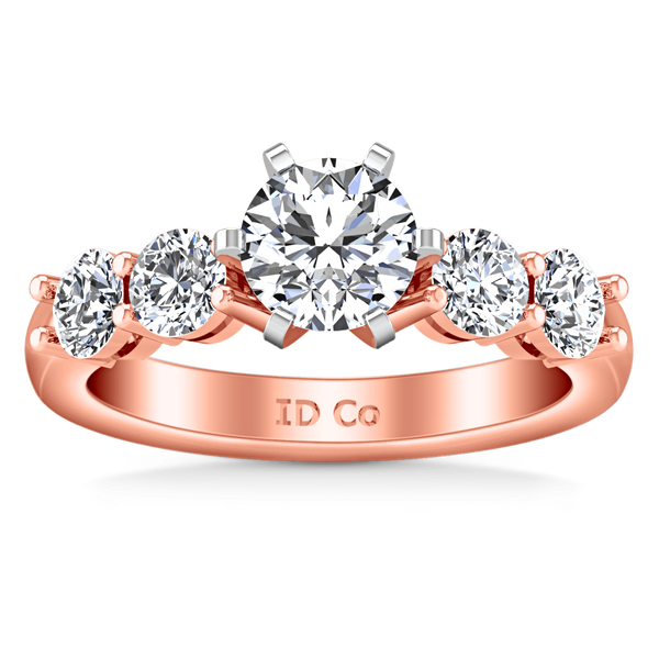 Pave Diamond Engagement Ring Journey 14K Rose Gold