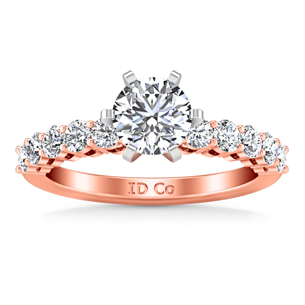 Pave Diamond Engagement Ring Fleur 14K Rose Gold