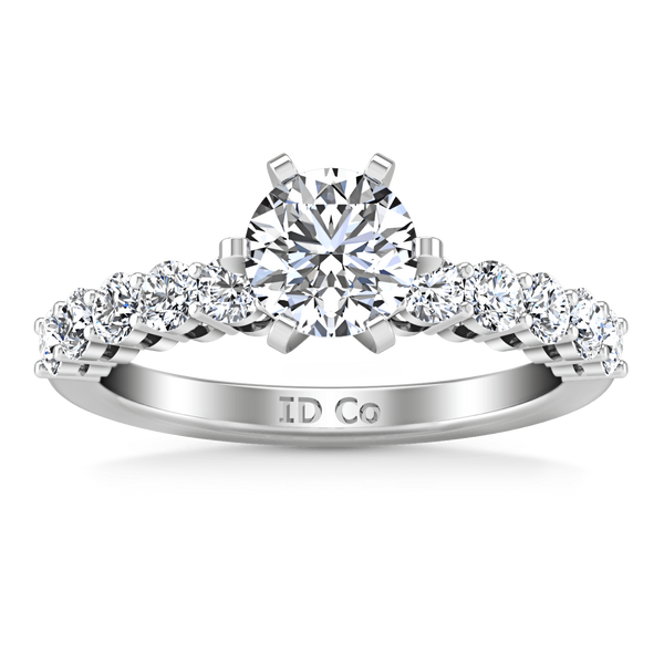 Round Diamond Pave Engagement Ring Fleur 14K White Gold