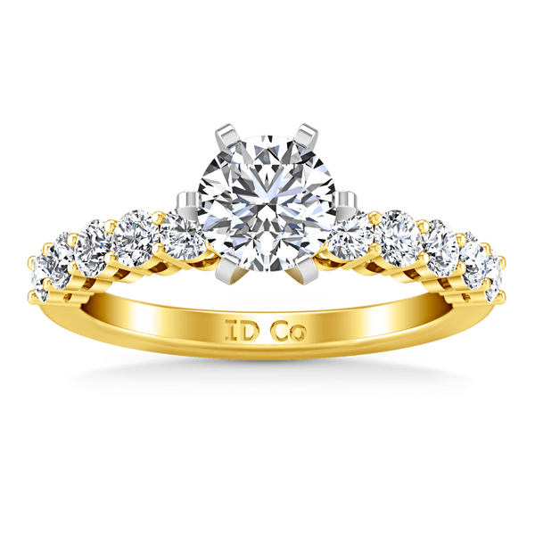 Pave Diamond EngagementRing Fleur 14K Yellow Gold