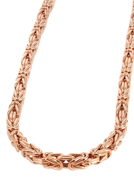 14K Rose Gold Chain - Hollow Bizantine Chain