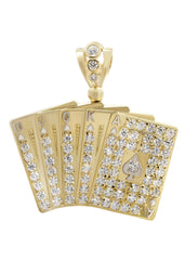 Big Cards & Cz 10K Yellow Gold Pendant. | 16.2 Grams MEN'S PENDANTS FROST NYC