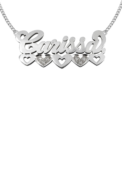 14K Ladies White Gold with Diamonds Name Plate Necklace | Appx. 10.9 Grams