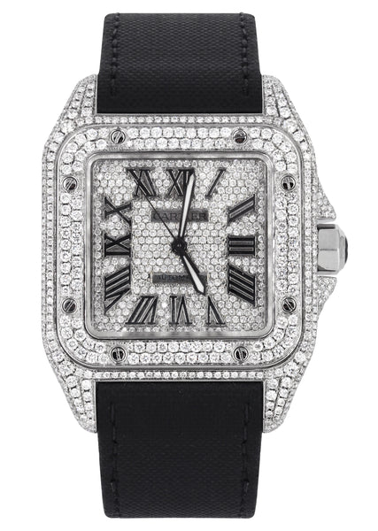 Diamond Cartier Santos 100 | Diamond Roman Dial | Diamond Case | Stainless Steel