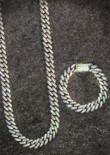 Gold Plated Iced Out Miami Cuban Link Chain & Bracelet