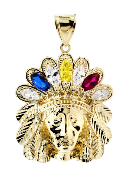 Big Chief Head & Cz 10K Yellow Gold Pendant. | 15.1 Grams