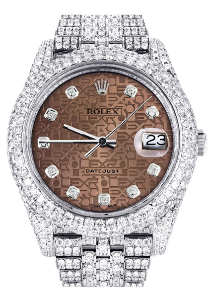 Diamond Iced Out Rolex Datejust 41 | 25 Carats Of Diamonds | Custom Chocolate Jubilee Diamond Dial | Two Row | Jubilee Band