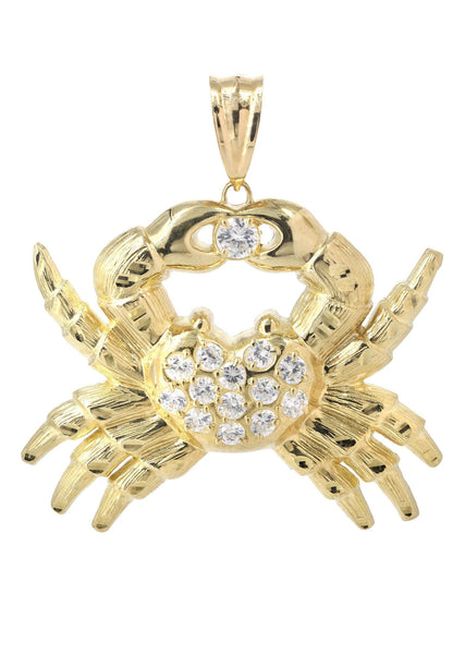 Big Crab & Cz 10K Yellow Gold Pendant. | 20.5 Grams